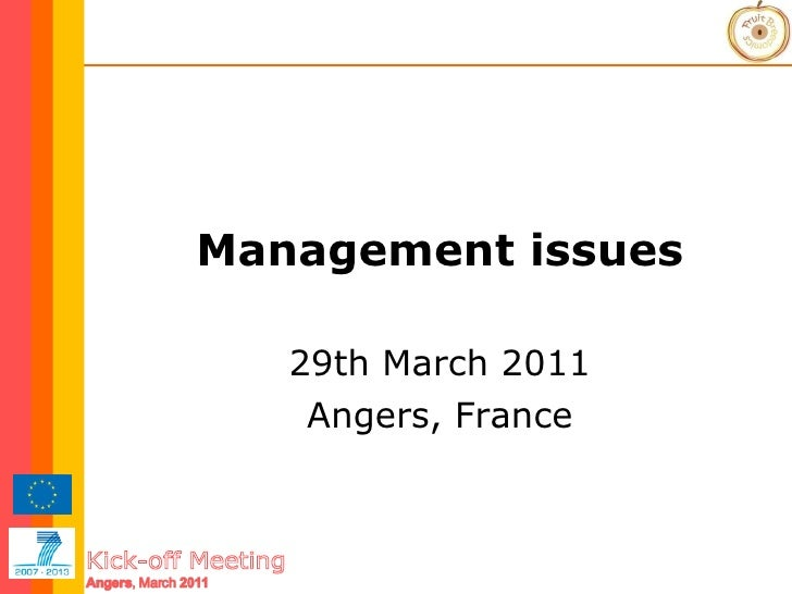 Management issues 29th March 2011 Angers, France
