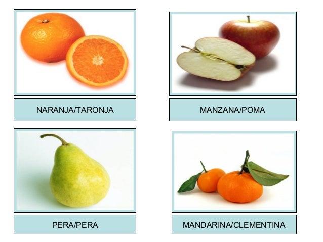 NARANJA/TARONJA MANZANA/POMA PERA/PERA MANDARINA/CLEMENTINA