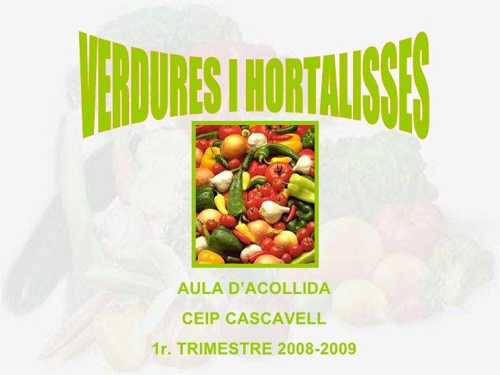 VERDURES I HORTALISSES AULA D'ACOLLIDA CEIP CASCAVELL 1r. TRIMESTRE 2008-2009
