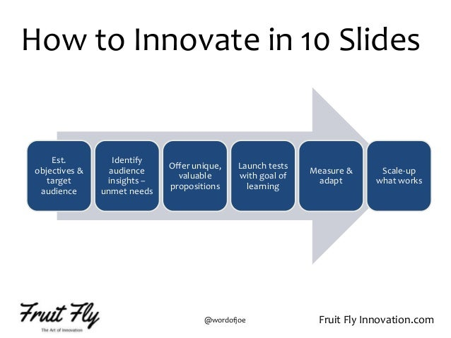 Fruit Fly Innovation.com@wordofjoe Est. objectives & target audience Identify audience insights – unmet needs Offer unique...