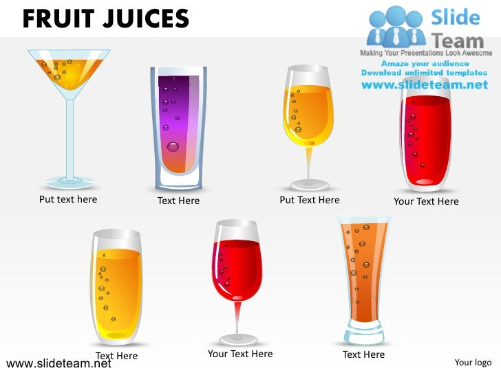 FRUIT JUICES     Put text here           Text Here                    Put Text Here               Your Text Here          ...