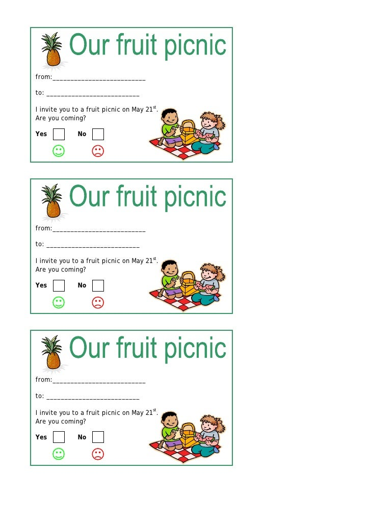 from:__________________________  to: __________________________  I invite you to a fruit picnic on May 21st. Are you comin...
