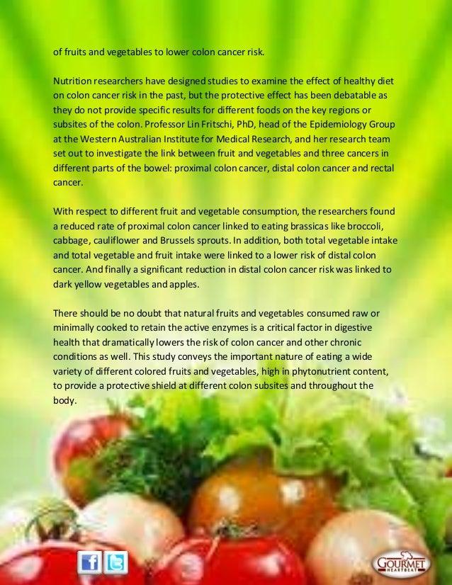 Fruits and vegetables lower risk of colon cancer Slide 2
