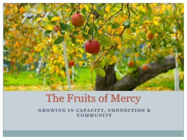 G R O W I N G I N C A P A C I T Y , C O N N E C T I O N & C O M M U N I T Y The Fruits of Mercy