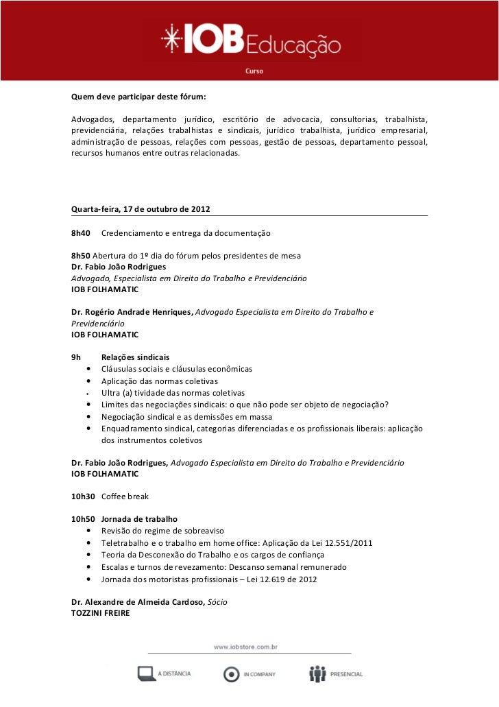 Fórum de Direito Trabalhista e Previdenciário - IOB e-Store Slide 2
