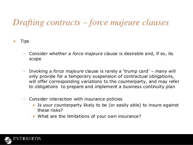 Shine frustration of contracts webinar 28 drafting contracts force majeure clauses pronofoot35fo Image collections