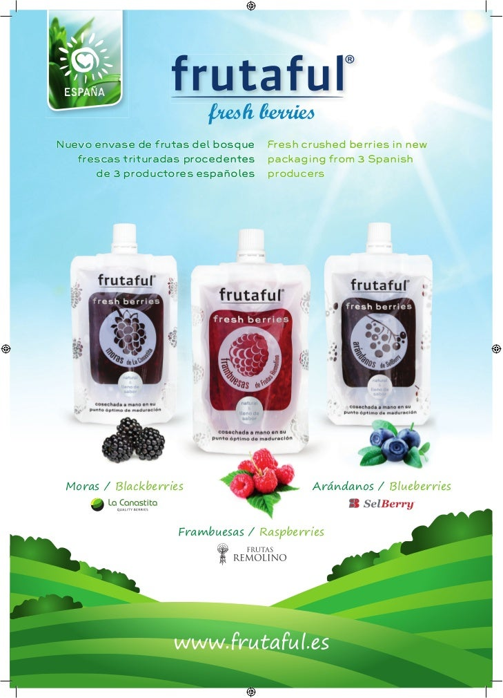 fresh berriesNuevo envase de frutas del bosque   Fresh crushed berries in new   frescas trituradas procedentes   packaging...