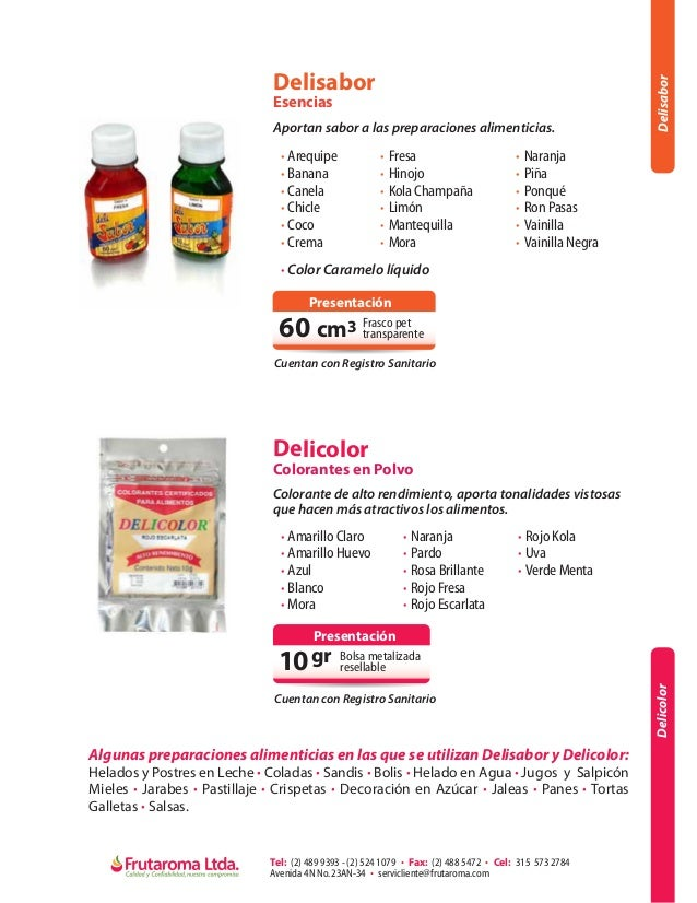 Frutaroma, Portafolio de Productos
