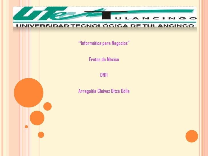"""""""Informática para Negocios""""      Frutas de México            DN11Arregoitia Chávez Ditza Odile"""