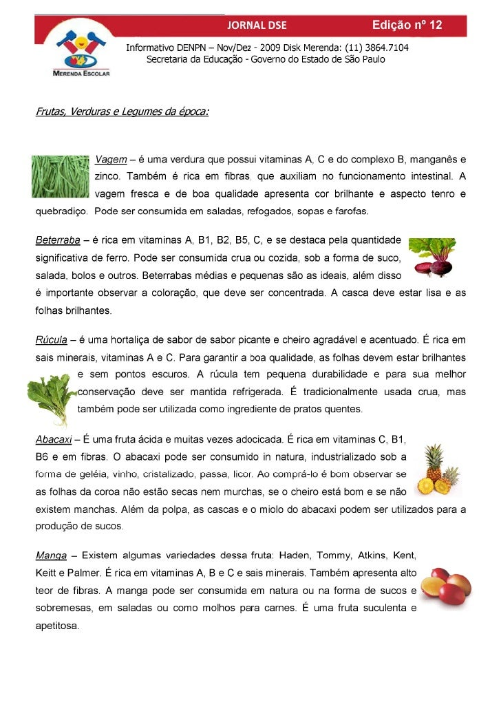 Frutas, verduras e legumes da epoca