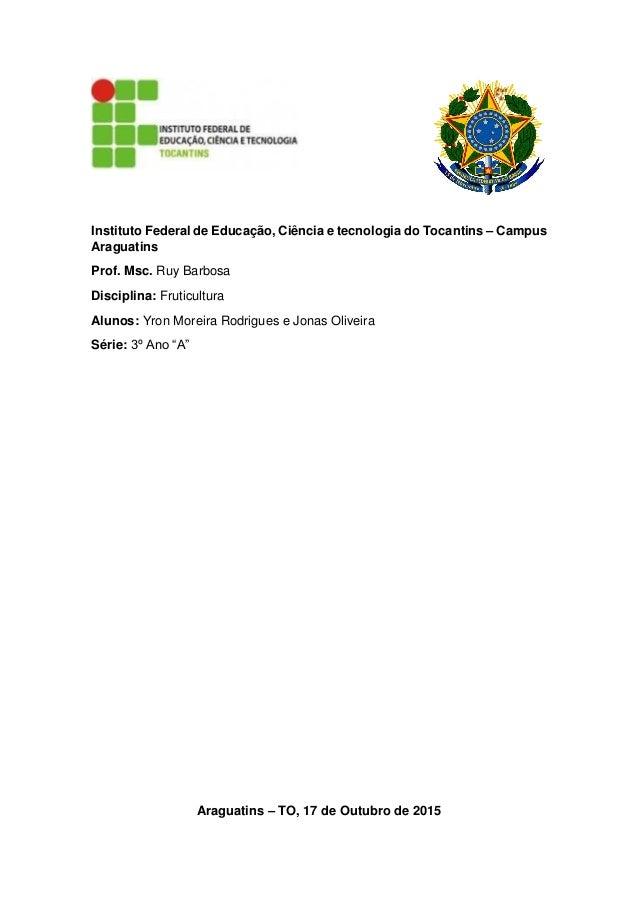 Instituto Federal de Educação, Ciência e tecnologia do Tocantins – Campus Araguatins Prof. Msc. Ruy Barbosa Disciplina: Fr...
