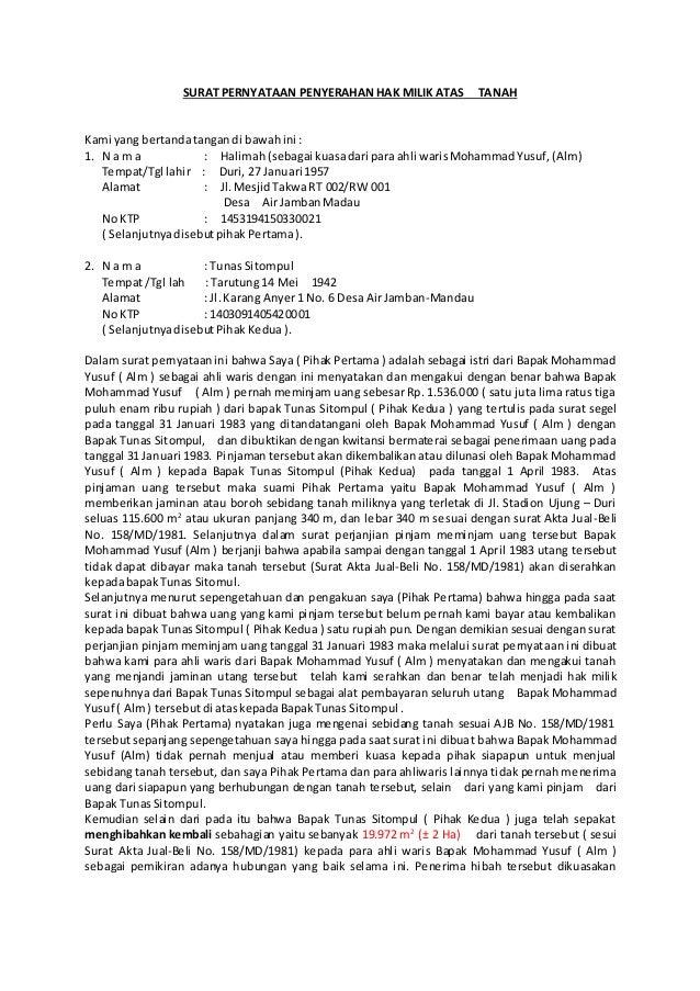 Contoh Surat Segel Tanah
