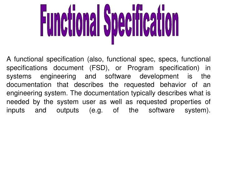 Functional specification for Functional design document template