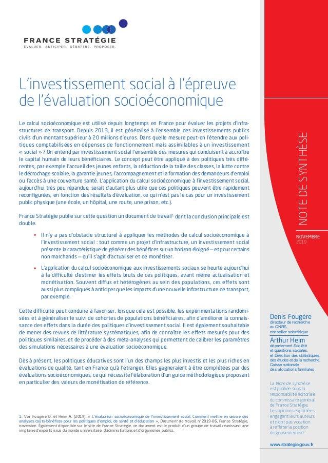 Note De Synthese L Investissement Social A L Epreuve De L Evaluatio