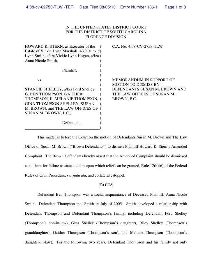 Brown Memo re Motion to Dismiss