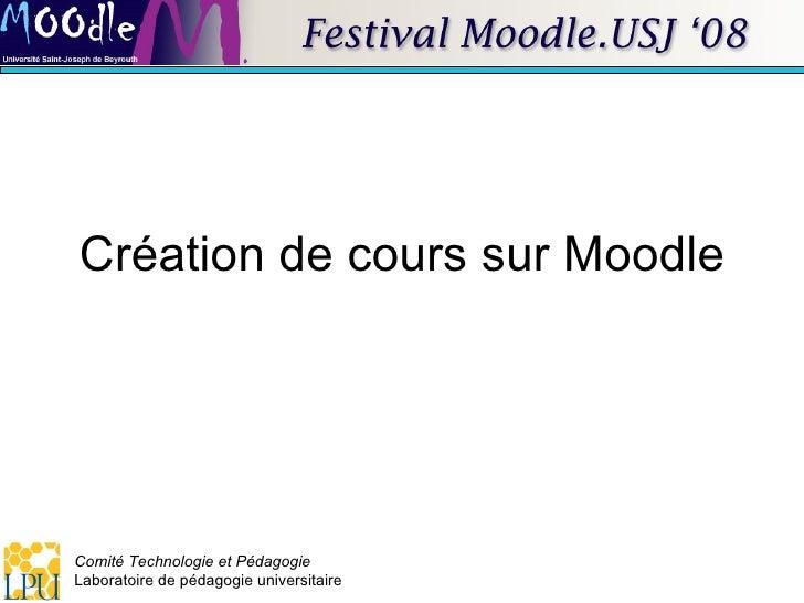 Création de cours sur Moodle