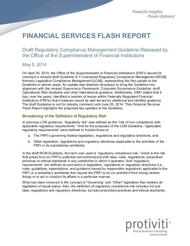 FINANCIAL SERVICES FLASH REPORT Draft Regulatory Compliance Management Guideline Released by the Office of the Superintend...