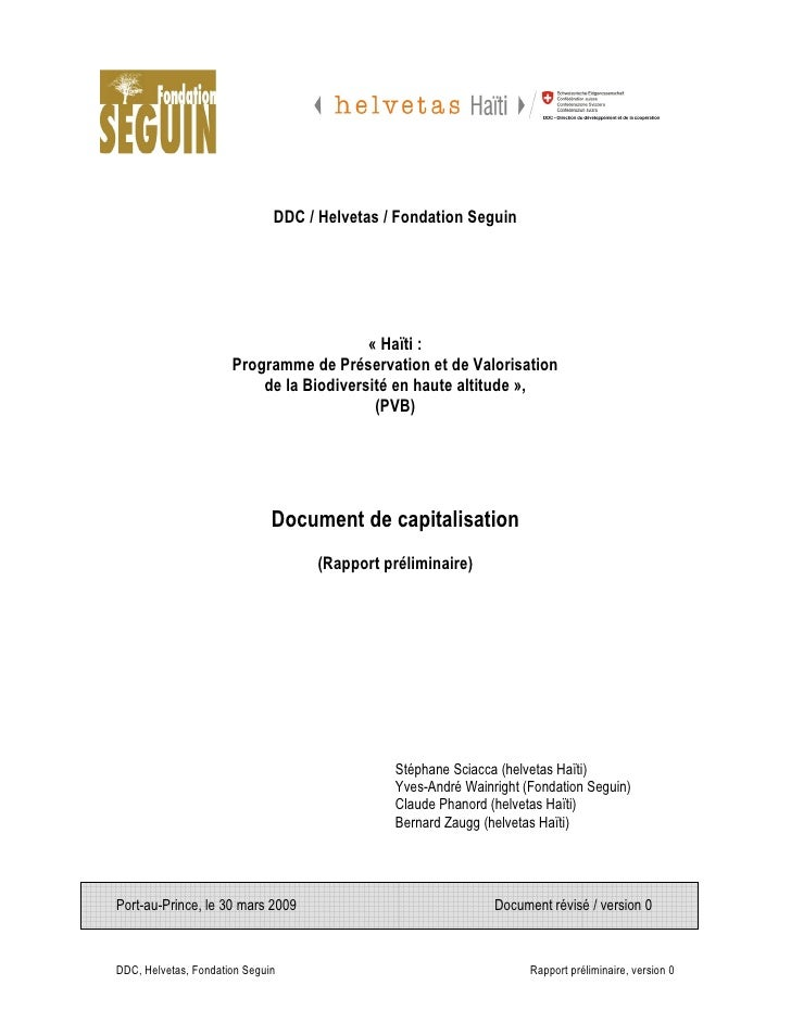 DDC / Helvetas / Fondation Seguin                                              « Haïti :                       Programme d...