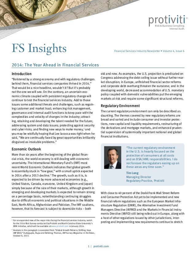 FS Insights  Financial Services Industry Newsletter • Volume 4, Issue 6  2014: The Year Ahead in Financial Services Introd...