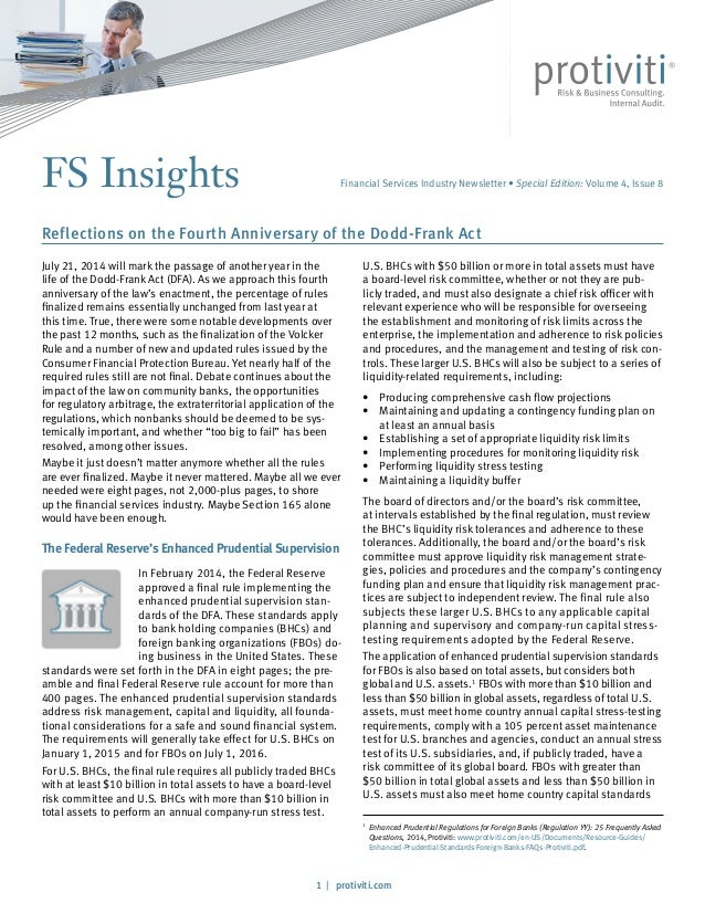 1 / protiviti.com FS Insights U.S. BHCs with $50 billion or more in total assets must have a board-level risk committee, w...