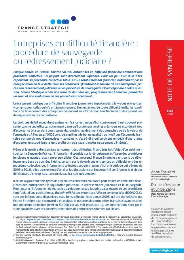 Entreprises En Diffi Culte Financiere Procedure De Sauvegarde Ou Re