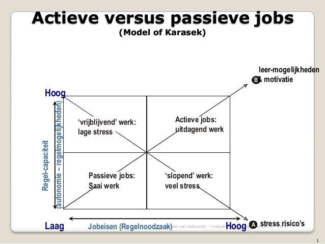 principes van zelfsturing - innovatieve arbeidsorganisatie FS - VIVO 'vrijblijvend' werk: lage stress A stress risico's Ho...