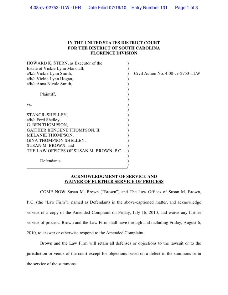 4:08-cv-02753-TLW -TER         Date Filed 07/16/10       Entry Number 131      Page 1 of 3                           IN TH...