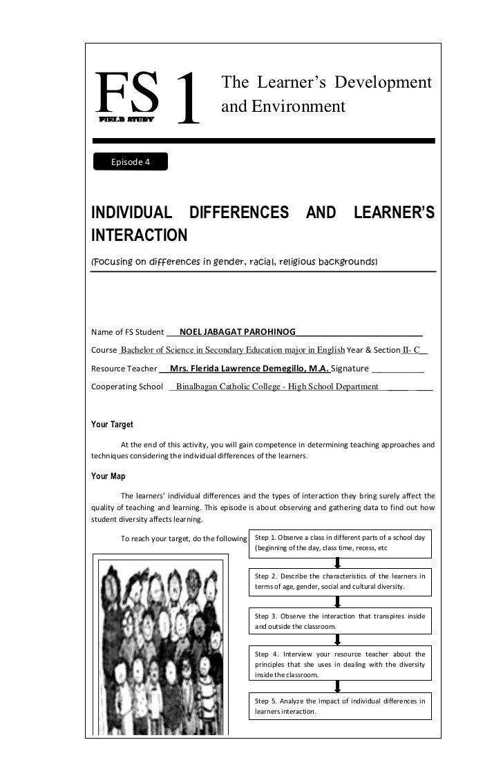 FS 1  FIELD STUDY                                       The Learner's Development                                       an...