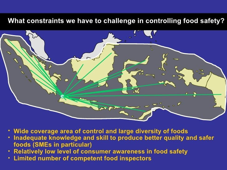 <ul><li>Wide coverage area of control and large diversity of foods </li></ul><ul><li>Inadequate knowledge and skill to pro...