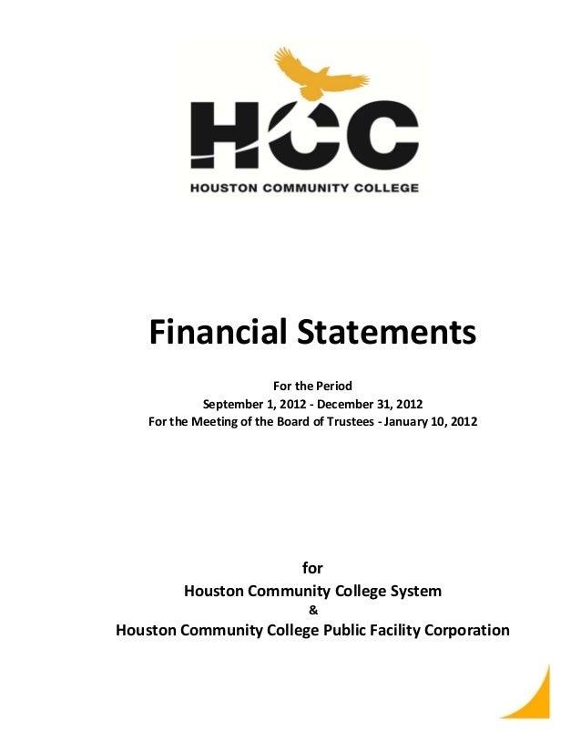 FinancialStatements ForthePeriod September1,2012‐December31,2012 FortheMeetingoftheBoardofTrustees‐Janua...