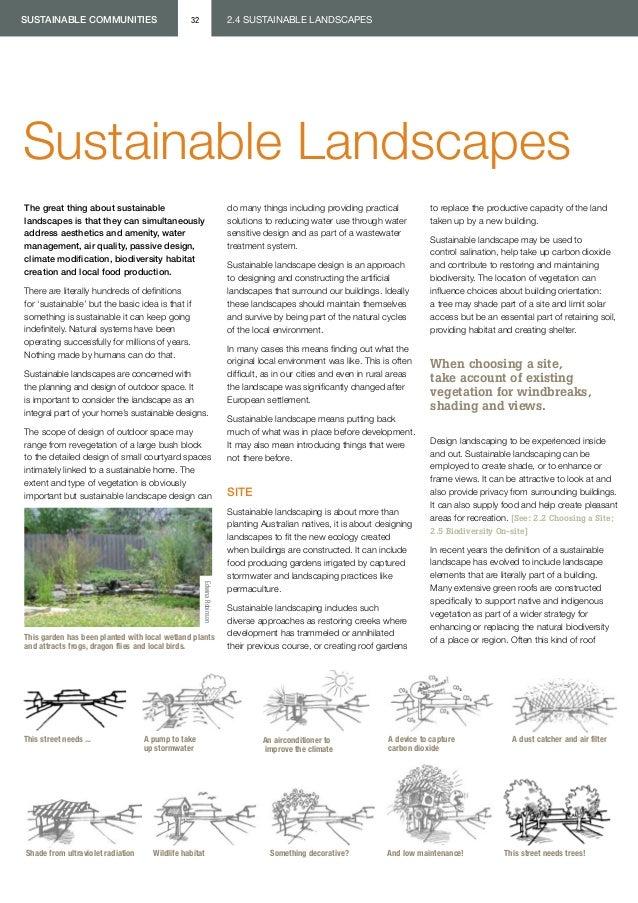 sustainable communities                         32                       2.4 SUSTAINABLE LANDSCAPESSustainable Landscapest...