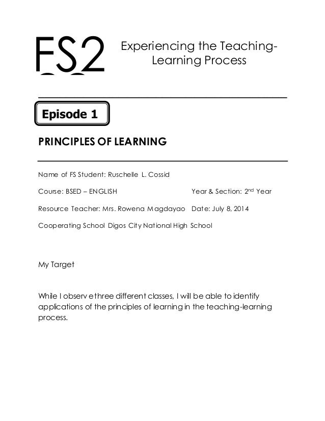 fs2 episode 4 Fs2 episode 4 guiding principles in the selection and use of teaching strategies  guiding the principles in the selection and use of teaching strategies name of the fs student: mark leo d.