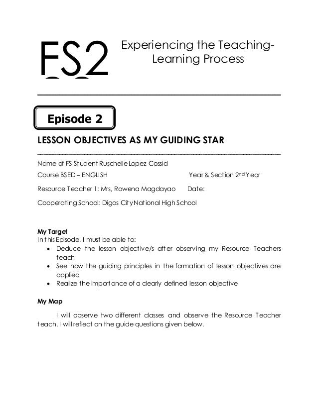 Experiencing the Teaching- Learning Process ______________________________________________________________________________...