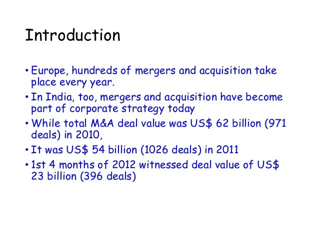 """an introduction to the mergers and acquisition game Introduction mergers and acquisitions are a controversial phenomenon in corporate finance the theoretical support for this practice is the expected value creation for shareholders once the transaction the game"""", creating a need for companies to take actions such as mergers or acquisitions in order to maintain or."""