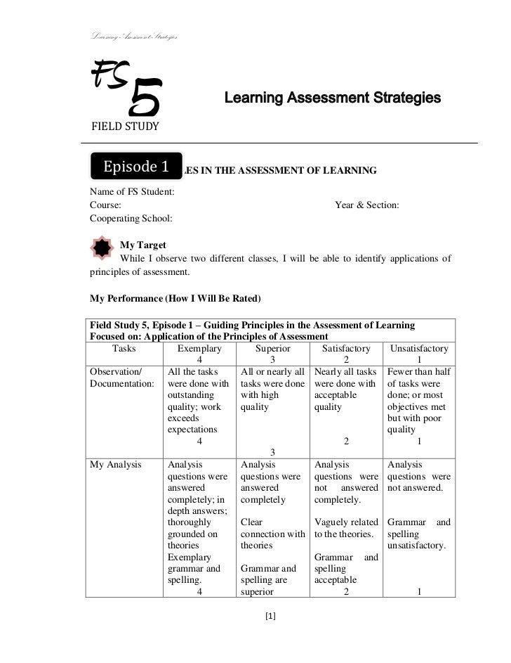 Learning Assessment StrategiesFSFIELD STUDY            5                    Learning Assessment Strategies  Episode 1GUIDI...