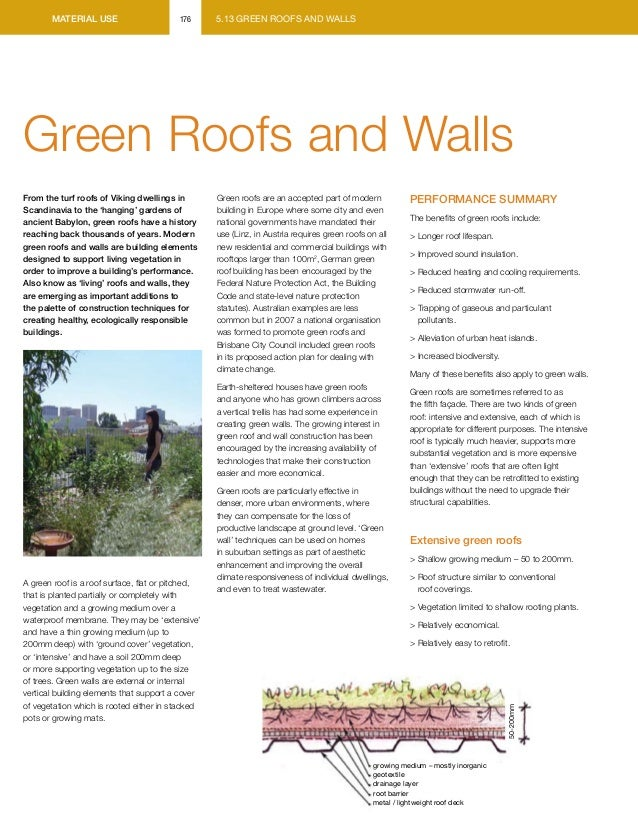 material use                       176      5.13 GREEN ROOFS AND WALLSGreen Roofs and WallsFrom the turf roofs of Viking d...