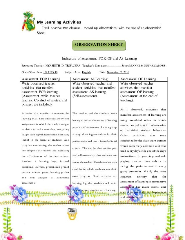 My Learning Activities I will observe two classess , record my observations with the use of an observation Sheet. Indicato...