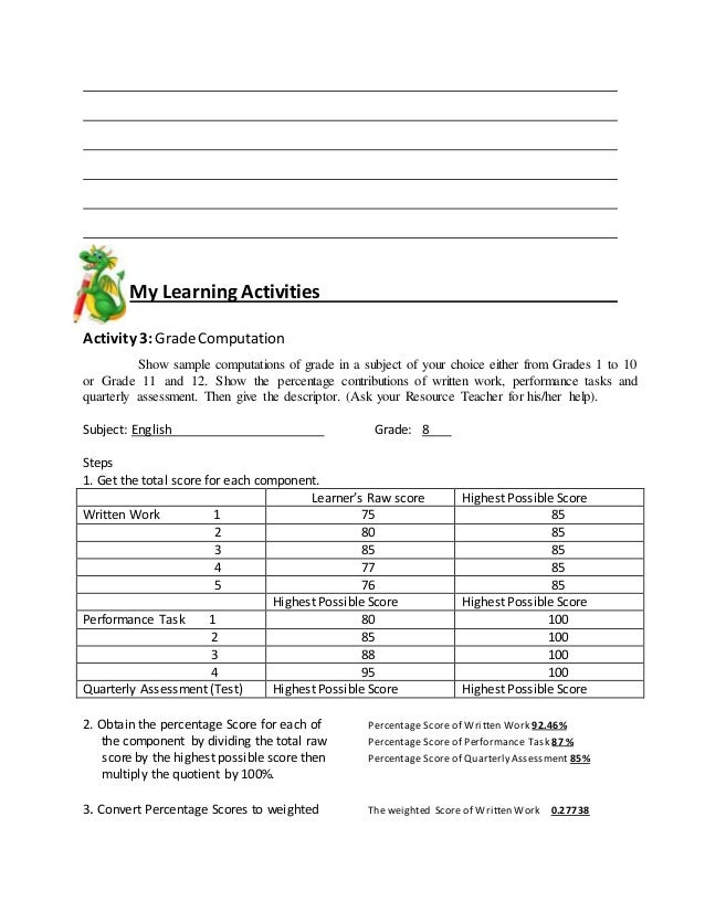 My Learning Activities Activity 3:GradeComputation Show sample computations of grade in a subject of your choice either fr...