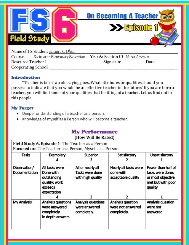 field study 5 episode 2 Field study 5 (answer sheet) download field study 5 (answer sheet) uploaded by episode 2 using appropriate assessment tools my target in this episode.