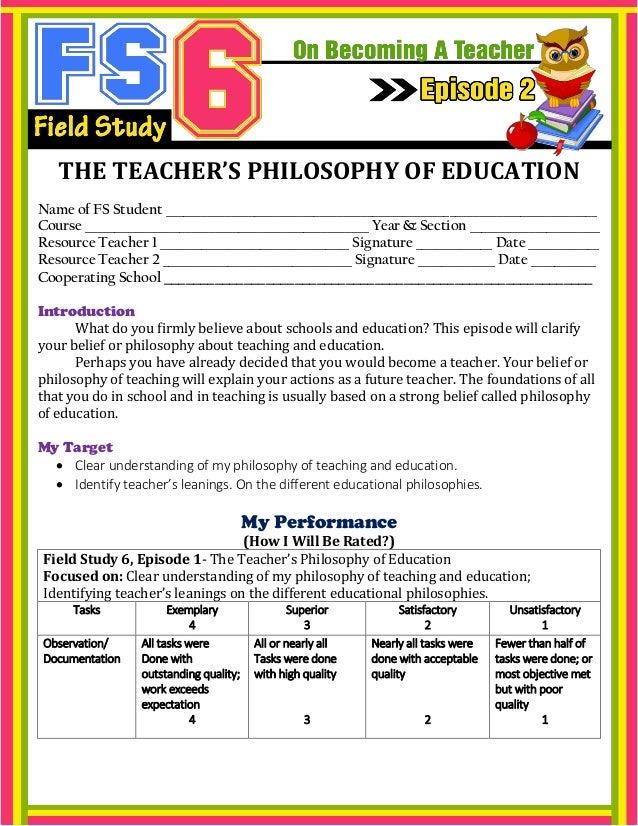 FS6 Episode 2: The Teacher's Philosophy of Education