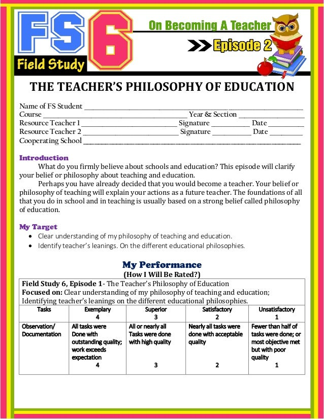 THE TEACHER'S PHILOSOPHY OF EDUCATION Name of FS Student _________________________________________________________________...
