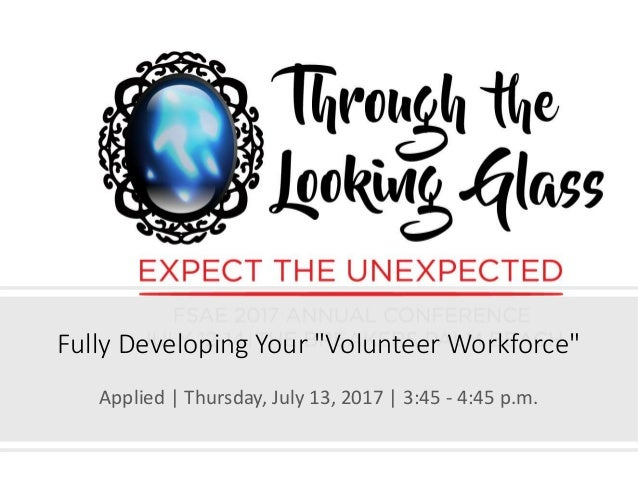"""Fully Developing Your """"Volunteer Workforce"""" Applied 