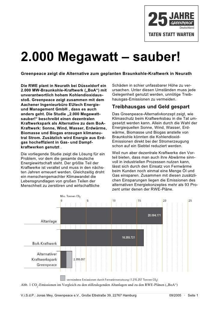 2.000 Megawatt – sauber! Greenpeace zeigt die Alternative zum geplanten Braunkohle-Kraftwerk in Neurath  Die RWE plant in ...