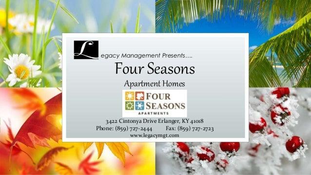 Four Seasons Apartment Homes egacy Management Presents…. 3422 Cintonya Drive Erlanger, KY 41018 Phone: (859) 727-2444 Fax:...