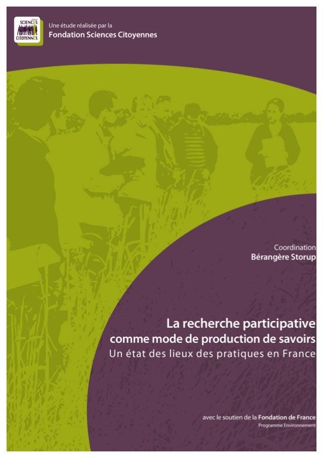 2 Une étude menée par la Fondation Sciences Citoyennes avec le soutien de la Fondation de France               ...