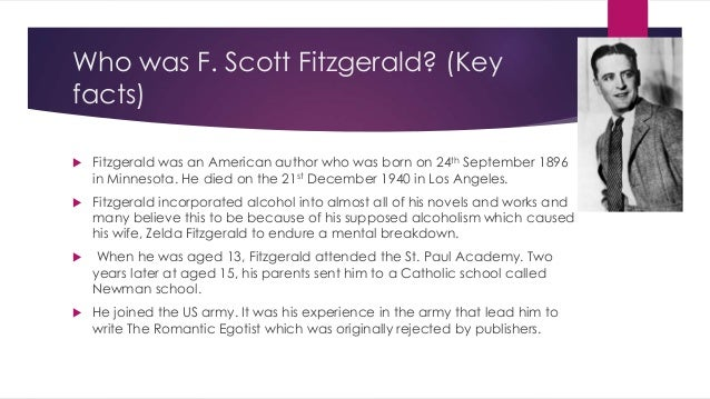 the life and work of francis scott key fitzgerald Francis scott key fitzgerald (september 24, 1896 - december 21, 1940) was an  irish  contents life novels short story collections short stories other images   thrown out of the school when he was aged 16 for not working hard enough.
