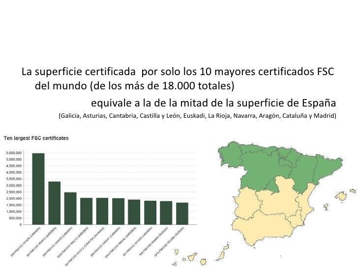 La superficie certificada  por solo los 10 mayores certificados FSC del mundo (de los más de 18.000 totales)<br />equivale...