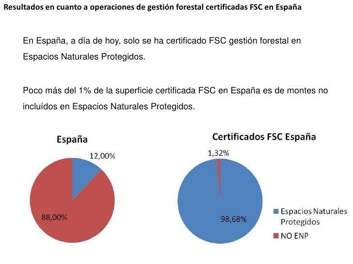 Resultados en cuanto a operaciones de gestión forestal certificadas FSC en España<br />En España, a día de hoy, solo se ha...