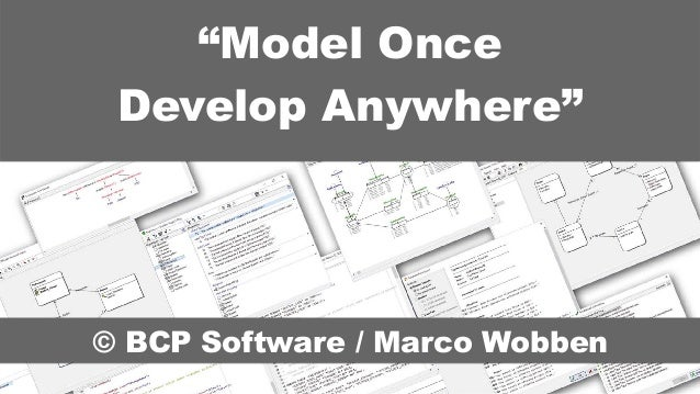 """© BCP Software / Marco Wobben """"Model Once Develop Anywhere"""""""