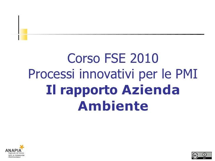Corso FSE 2010 Processi innovativi per le PMI Il rapporto  Azienda Ambiente